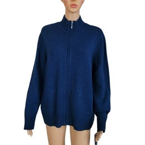 Karen Scott Sweater XL Blue Jacket Zip Up